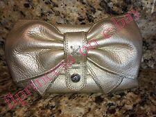 NWT Brighton Becca Bow Pouchette Bag Clutch Handbag Crossbody Metallic Gold $110