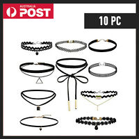 Choker Necklace Retro Fashion Gothic Chain Suede Cord String Wrap Black Tie