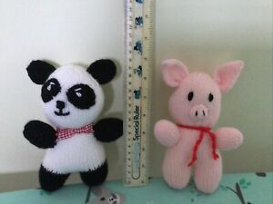 2 hand knitted Toys A Pig And A Panda