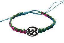 Bracelet bresilien ethnique multicolore Om hindu fil bleu Ø 19mm - 25649
