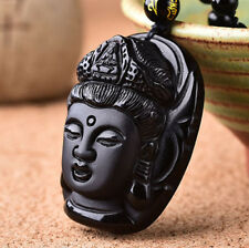 "Natural Obsidian Folk Pure Hand Carved ""Buddha Head"" Talisman Pendant Necklace A"