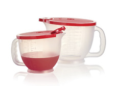 Tupperware Mix N Store Batter Bowls / Pitchers Set Rare with Red Seals New