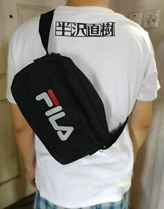 NEW FILA LOGO BLACK Waist Cross-body Bag with Mesh Pocket from Japan Magazine
