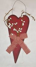 Rustic Primitive RED HEART w Pip Berries Country Home Decor