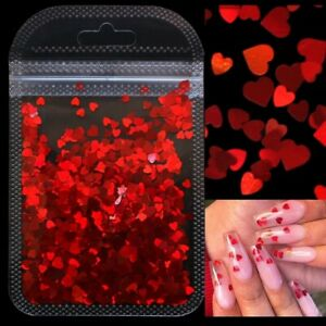 3D Holographic Nail art glitter shiny love heart flakes