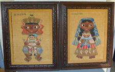 Pair of Mexican folk art burlap paintings  JOSE MARIA DE SERVIN (1917-1983)