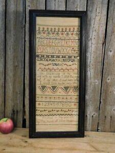 Antique Primitive Large Framed 1771 Sampler Lillie Stackhouse with a story!