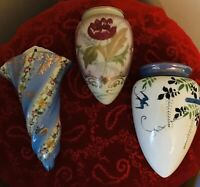 Vintage Wall Pockets Vases - Lot of 3 - 1 Blue Floral Limoges & 2 Floral Japan