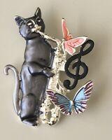 Adorable  artistic  Cat  butterflies large Pin Brooch in enamel on Metal