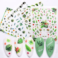 3D Nail Stickers Tropical Beach Island Leave Flowers Nail Art Decoration Sheets