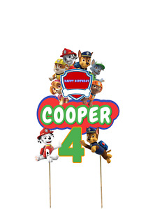 Paw Patrol Cake Topper | Personalised | Kids Birthday Decoration | Double Layere