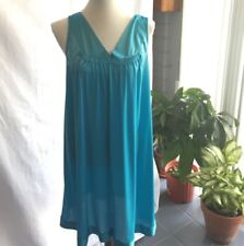 Vintage 1980s Vanity Fair Knee Length Nightgown Size M Turquoise Modest