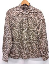 New York & Company Women's Blouse Top Button Up Floral Ruffle Long Sleeve Size M