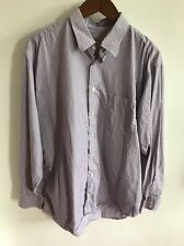 MENS BURBERRY LONDON PURPLE GRAY STRIPED BUTTON UP SHIRT SIZE 17 R LARGE