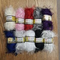 YarnArt eyelash, fancy knitting yarn 50gr, 10 colours, craft, crocheting