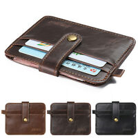 Men Womens Leather Small Id Credit Card Wallet Slim Holder Pocket Case