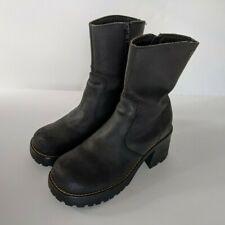 Skechers Womens 7 Platform Ankle Boots Black Chunky Retro Punk 90s Zip Combat