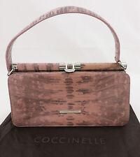 Coccinelle Henkeltasche Trapeztasche rosa grau Reptiloptik Leder bag sac
