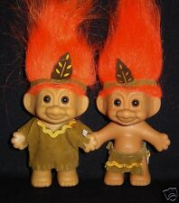 """Native American Boy & Girl Russ Troll Doll 3"""" Indian Hard to Find New In Bags"""