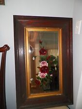 VINTAGE ANTIQUE VICTORIAN MIRROR HANDPAINTED PINK RED ROSES WOODEN FRAME
