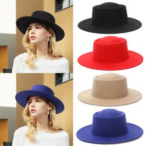 Mens Fedora Hats Women Jazz Hat Flat Top Wide-Brim Panama Style Hat Felt Cap New
