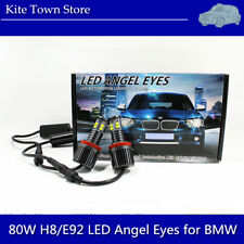 2PCS H8 80W 6000K White 2-Sides CREE LED Angel Eye Halo Ring Light Bulbs For BMW