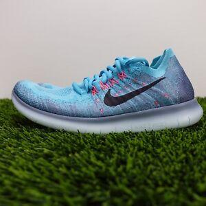 Nike Free RN Flyknit 2017 Women's Running Shoes Blue Pink 880844-400 Size 7.5