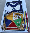 Vintage Masonic Lodge Mason Officer Lot Medals Cloth Apron Banner Gloves Cords