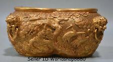"8"" Chinese Copper 24K gilt Gold Dynasty Pine Crane Birds conjoined Pot Jar Crock"