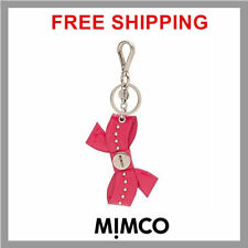 FREE POST MIMCO BLACK Modify Cora Keyring Seahorse Cow Leather with Split ring