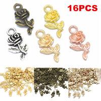 Lots 16pcs Tibetan Silver Rose Flower Charm Pendant Beads Jewelry Making Craft