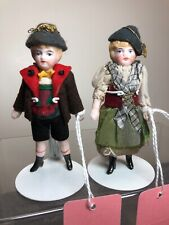 """3.5"""" Antique German All Bisque Jointed Adorable Couple Set Of 2 Dolls DetailedAc"""