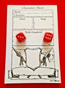 Heroquest Board Game 2 Original Red Movement Dice & Pad of 70 Character Sheets