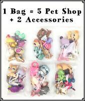 1 Bag Littlest Pet Shop Lot 5 Random LPS With 1 Dog or 1 Cat + 2 Accessories LPS