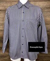 Ermenegildo Zegna Men's Blue Plaid Long Sleeve Button Front Shirt Italy Small