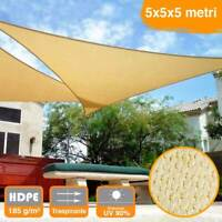 Vela Telo Parasole 5x5mt Tenda Triangolare Ombreggiante Giardino in HDPE Beige