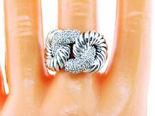 DAVID YURMAN CORDELIA RING STERLING SILVER AND PAVE DIAMONDS SIZE 7
