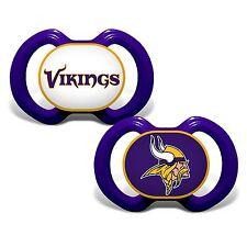 MINNESOTA VIKINGS 2-PACK BABY INFANT ORTHODONTIC PACIFIER SET NFL FOOTBALL