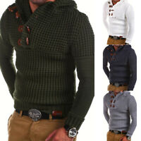 Cardigan Men's Winter Jumper Top Hooded Pullover Casual Knitwear Knitted Sweater