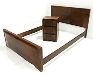 1930 Art Deco Antique Walnut Bedroom Set Double Bed Side Table Nightstand Vanity