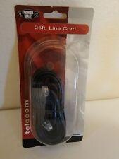 Jensen JT1020BL 25ft Black Line Cord Telephone Phone Fax Wire Telecom