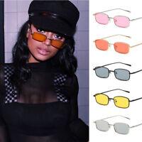 Fashion Womens Vintage Small Square Sunglasses Metal Frame Shades Eyewear