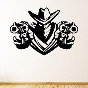 Cowboy Bandit Outlaw Wall Sticker Decal Transfer Kids Bedroom Wild West Vinyl UK