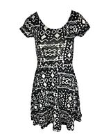 BR10 Ex Coast Shift Bodycon Dress Black with Multi Floral Pattern Size 6-14