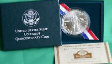 1992 Columbus Quincentenary US Mint Silver Dollar BU Coin with COA & Box