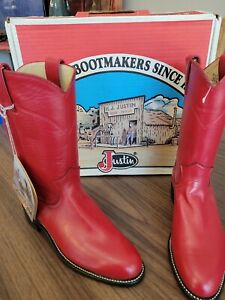 Justin Red Leather Roper Cowboy Western Boots Womens Size 6B,brand New with tags