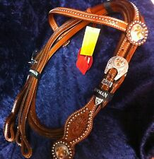 New Showman leather Horse headstall bridle Floral Tooling Silver Gold Engraving
