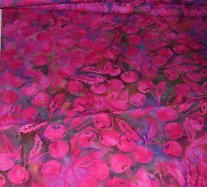 "685J Cotton Quilt Fabric BRIGHT RED CHERRIES on PURPLE BACKGROUND 44"" x 1 YARD"