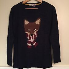 Jolt Women's Navy Ugly Christmas Fox Long Sweater. Size Medium.