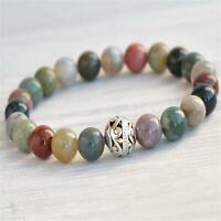 8mm Indian Agate Beads Handmade Mala Bracelet Bangle Retro Yoga Meditation